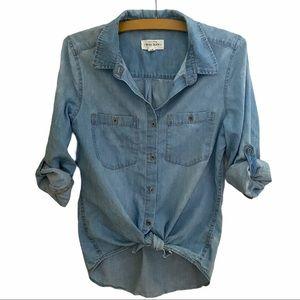Wax Jean denim button front shirt. Long sleeves